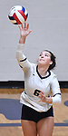 Althoff player Claire Franke serves. Althoff lost to Minooka in the championship game of the O'Fallon Class 4A volleyball sectional at O'Fallon HS in O'Fallon, IL on November 6, 2019.<br /> Tim Vizer/Special to STLhighschoolsports.com