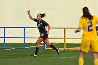 Lauren Cheney celebrates her first of two goals.  The USA was victorious over Sweden 2-0 in Ferreiras on March 1, 2010 at the Algarve Cup.