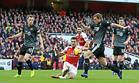 Burnley's Chris Wood is tackled by Arsenal's Sokratis Papastathopoulos<br /> <br /> Photographer David Shipman/CameraSport<br /> <br /> The Premier League - Arsenal v Burnley - Saturday 22nd December 2018 - The Emirates - London<br /> <br /> World Copyright © 2018 CameraSport. All rights reserved. 43 Linden Ave. Countesthorpe. Leicester. England. LE8 5PG - Tel: +44 (0) 116 277 4147 - admin@camerasport.com - www.camerasport.com