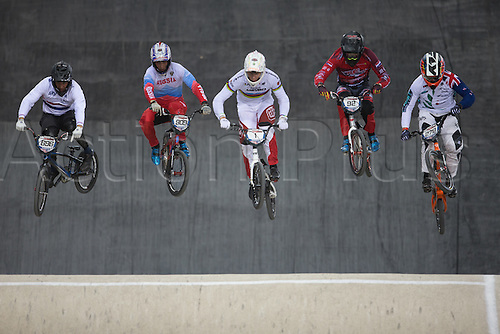 10.04.2016. National Cycling Centre, Manchester, England. UCI BMX Supercross World Cup Finals. Tre Whyte, Alexander Katyshev, Niek Kimmann, Martijn Jaspers and Trent Jones.