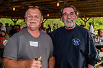 WATERTOWN, CT. 17 May 2018-051718BS92 - Walter Blanchard a Waterbury native now of Orange City, Florida and Joseph Carpinteri of Thomaston at the Greater Waterbury Campership Fund's Big Green Pizza Truck Party at the YMCA'S Camp Mataucha on Thursday evening. Bill Shettle Republican-American