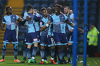 Aaron Pierre of Wycombe Wanderers  (right) celebrates after he scores the opening goal of the game during the Sky Bet League 2 match between Wycombe Wanderers and Morecambe at Adams Park, High Wycombe, England on 12 November 2016. Photo by David Horn.