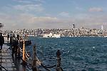 Istanbul, Turkey, Beyoglu from Uskudar, Üsküdar, Asian, Anatolian shore, passenger ferries, Bosphorus, Bosporos Strait,