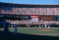SAN FRANCISCO, CA - Marvin Benard of the San Francisco Giants watches the last pitch ever thrown at The Stick during a game against the Los Angeles Dodgers at Candlestick Park in San Francisco, California on September 30, 1999. Photo by Brad Mangin