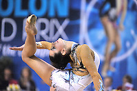 Anna Gurbanova of Azerbaijan balances in ring position with ribbon during Event Finals at 2011 Holon Grand Prix, Israel on March 5, 2011.  (Photo by Tom Theobald).