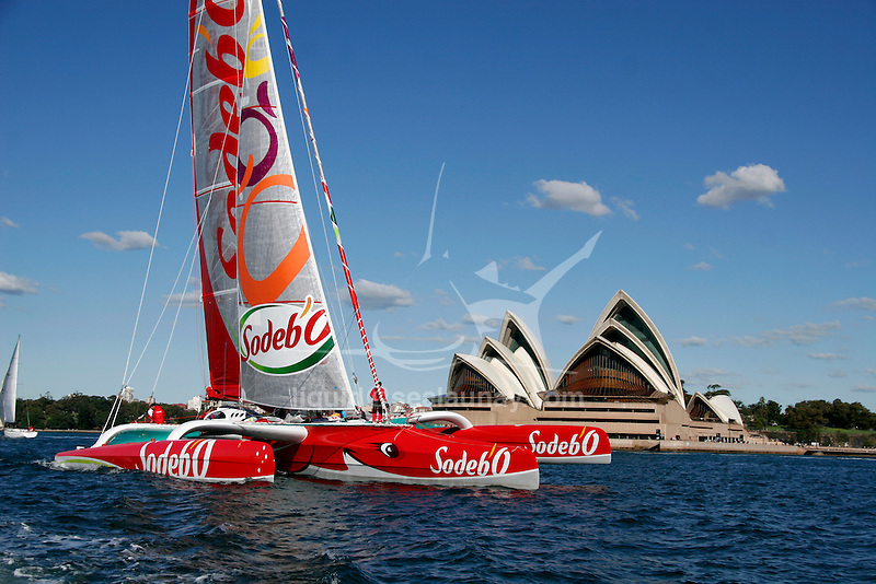 Water view for the first test sails of the 105 feet trimaran Sodeb'O, skipper Thomas Coville, arriving in Sydney Harbour..Designed by Nigel Irens and Benoît Cabaret, the maxi-Sodeb'O been built and launched in Australia in June 2007, this 32 m long three hulled machine (105 feet) and 16.55 m wide (55 feet) craft is equipped with a 35 m mast and can carry up to 650 square metres of sail area..