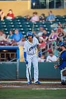 Adalberto Mondesi (26) of the Omaha Storm Chasers bats against the Round Rock Express at Werner Park on May 27, 2018 in Papillion , Nebraska. Round Rock defeated Omaha 8-3. (Stephen Smith/Four Seam Images)