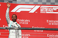 3rd November 2019; Circuit of the Americas, Austin, Texas, United States of America; Formula 1 United States Grand Prix, race day; Mercedes AMG Petronas Motorsport, Lewis Hamilton comes in second, on the podium - Editorial Use