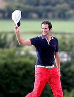 Gregory Bourdy (FRA), salutes the crowd and is the winner of the 2013 ISPS Handa Wales Open from the Celtic Manor Resort, Newport, Wales. Picture:  David Lloyd / www.golffile.ie