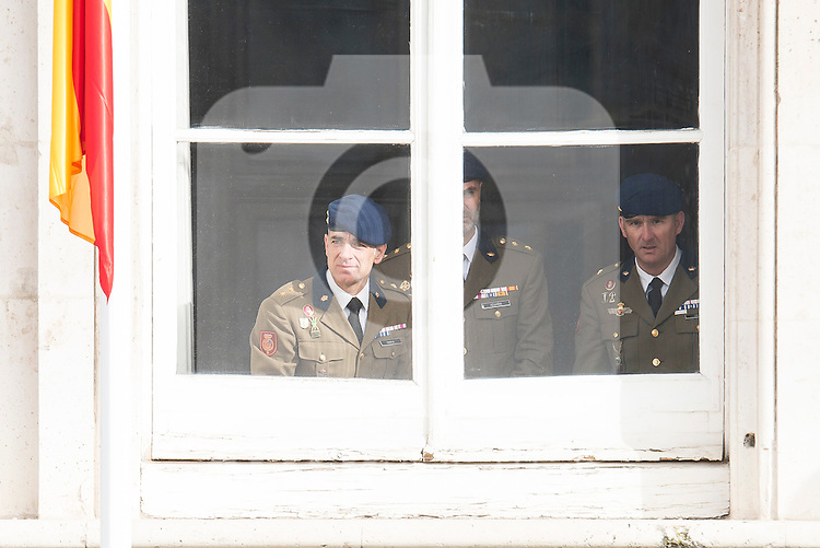 Military looking thought the window during state visit of the president of Argentinian Republic, Sr. Mauricio Macri and Sra Juliana Awada at Real Palace in Madrid, Spain. February 19, 2017. (ALTERPHOTOS/BorjaB.Hojas)