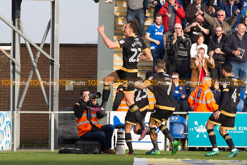 Kal Naismith of Portsmouth celebrates the second goal in front of the travelling support during Colchester United vs Portsmouth, Sky Bet EFL League 2 Football at the Weston Homes Community Stadium on 11th March 2017