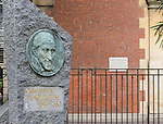 VMI Vincentian Heritage Tour: St. Vincent medallion statue outside of the Priory of St Lazare, (107 Rue du Faubourg Saint Denis), Thursday, June 23, 2016, as they toured Vincentian sites in Paris.  The site was home for Vincent de Paul in the latter part of his life and the area also includes the Gare du Nord and the Church of St Vincent de Paul. (DePaul University/Jamie Moncrief)
