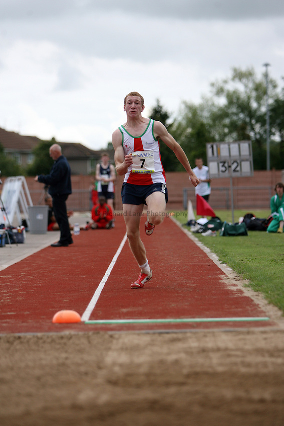 Photo: Rich Eaton...Schools International Athletic Board, Track & Field International Match, Newport. 21/07/2007. David Guest of Wales competes in  the boys long jump.