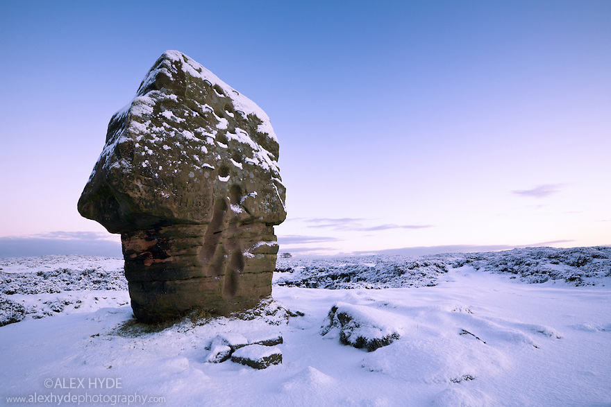 The Cork Stone, a gritstone formation on Stanton Moor, Peak District National Park, UK.