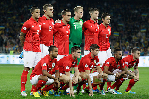 10.09.2013. Kiev, Ukraine.  England team line up during their World Cup qualifying soccer match against Ukraine at the Olympic stadium in Kiev September 10, 2013.  The game ended in a 0-0 draw allowing England to go top of their group.