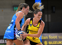 Sara Bayman keeps the ball from Wendy Frew (left) during the ANZ Premiership netball match between the Central Pulse and Northern Stars at Te Rauparaha Arena in Wellington, New Zealand on Wednesday, 24 May 2017. Photo: Dave Lintott / lintottphoto.co.nz
