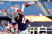 August 9, 2018: New England Patriots running back James Develin (46) warms up prior to the NFL pre-season football game between the Washington Redskins and the New England Patriots at Gillette Stadium, in Foxborough, Massachusetts.The Patriots defeat the Redskins 26-17. Eric Canha/CSM