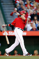 Josh Hamilton #32 of the Los Angeles Angels bats against the Los Angeles Dodgers in both teams final spring training game at Angel Stadium on March 30, 2013 in Anaheim, California. (Larry Goren/Four Seam Images)