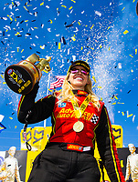 May 6, 2018; Commerce, GA, USA; NHRA funny car driver Courtney Force celebrates after winning the Southern Nationals at Atlanta Dragway. Mandatory Credit: Mark J. Rebilas-USA TODAY Sports