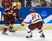 Tony Lucia (Minnesota - 12), Benn Ferriero (BC - 21) - The Boston College Eagles defeated the University of Minnesota Golden Gophers 5-2 on Saturday, March 29, 2008, in the NCAA Northeast Regional Semi-Final at the DCU Center in Worcester, Massachusetts.