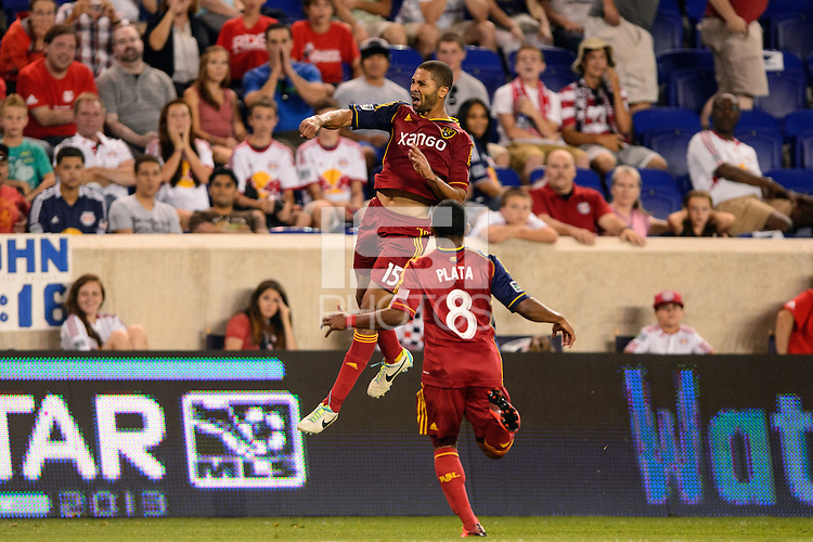 Alvaro Saborio (15) of Real Salt Lake celebrates scoring a hat trick. The New York Red Bulls defeated Real Salt Lake 4-3 during a Major League Soccer (MLS) match at Red Bull Arena in Harrison, NJ, on July 27, 2013.
