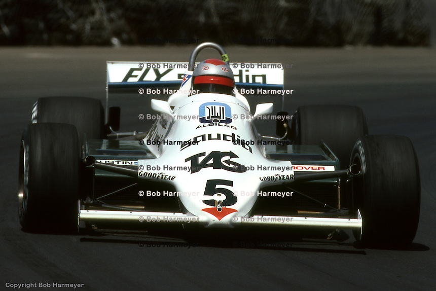 LONG BEACH, CA - APRIL 4: Mario Andretti, replacing the recently retired Carlos Reutemann, drives the Williams FW07D 16/Ford Cosworth during the United States Grand Prix West on April 4, 1982, on the temporary street circuit in Long Beach, California.