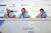 Henrik Stenson, Paul Casey and Matthew Fitzpatrick (Europe) during an interview after the Saturday Foursomes of the Eurasia Cup at Glenmarie Golf and Country Club on the 13th January 2018.<br /> Picture:  Thos Caffrey / www.golffile.ie