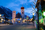 Austria, St Anton.  <br /> As cameras get higher sensitivity settings, a tripod will be less necessary for low light photography. St. Anton might the best ski area in Austria.
