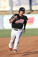 Kevin Torres (26) of the High Desert Mavericks runs the bases during a game against the San Jose Giants at Mavericks Stadium on June 14, 2015 in Adelanto, California. High Desert defeated San Jose, 7-5. (Larry Goren/Four Seam Images)