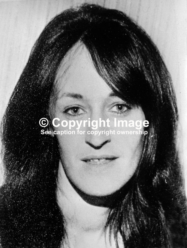 Ann Ogilby, South Belfast, originally from Sion Mills, Co Tyrone, who was murdered 24th July 1974. She was beaten to death by Loyalist women in a Sandy Row UDA Club. Her 6 years old daughter was being held nearby whilst her mother was being battered to death. Miss Ogilby's body was dumped close to M1 Motorway. A man and 11 women were jailed in connection with the incident.  197507240129..Copyright Image from Victor Patterson, 54 Dorchester Park, Belfast, United Kingdom, UK...For my Terms and Conditions of Use go to http://www.victorpatterson.com/Victor_Patterson/Terms_%26_Conditions.html