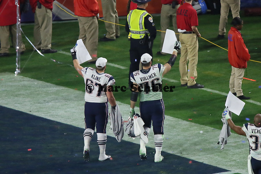 Sebastian Vollmer (Patriots) gewinnt zum ersten Mal den Super Bowl - Super Bowl XLIX, Seattle Seahawks vs. New England Patriots, University of Phoenix Stadium, Phoenix