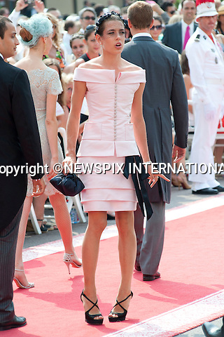 """MONACO ROYAL WEDDING .Charlotte Casiraghi..Guests Arrive at the Religious wedding of H.S.H Prince Albert II and Miss Charlene Wittstock in the Prince's Palace._Prince's Palace Monaco 01/07/2011..Mandatory Photo Credit: ©Dias/Newspix International..**ALL FEES PAYABLE TO: """"NEWSPIX INTERNATIONAL""""**..PHOTO CREDIT MANDATORY!!: NEWSPIX INTERNATIONAL(Failure to credit will incur a surcharge of 100% of reproduction fees)..IMMEDIATE CONFIRMATION OF USAGE REQUIRED:.Newspix International, 31 Chinnery Hill, Bishop's Stortford, ENGLAND CM23 3PS.Tel:+441279 324672  ; Fax: +441279656877.Mobile:  0777568 1153.e-mail: info@newspixinternational.co.uk"""