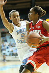 28 November 2012: Ohio State's Tayler Hill (right) and North Carolina's Latifah Coleman (2). The University of North Carolina Tar Heels played the Ohio State University Buckeyes at Carmichael Arena in Chapel Hill, North Carolina in an NCAA Division I Women's Basketball game. UNC won the game 57-54.