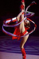 Evgenia Kanaeva of Russia performs solo gala exhibition with 2-ribbons at 2008 European Championships at Torino, Italy on June 6, 2008.  Photo by Tom Theobald.