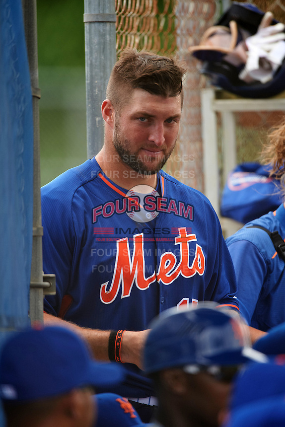 New York Mets outfielder Tim Tebow (15) in the dugout during an Instructional League game against the Miami Marlins on September 29, 2016 at Port St. Lucie Training Complex in Port St. Lucie, Florida.  (Mike Janes/Four Seam Images)