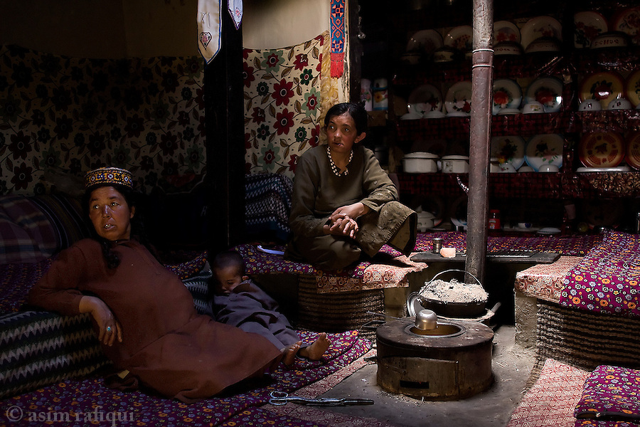 Inside a typical Hunza home, a family prepares the evening meal.