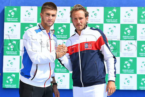 15.09.2016. Zadar, Croatia. Davis Cup tennis. Croatia versus France, meeting and training.  Lucas Pouille (Fra) and Borna Coric