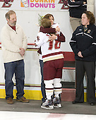 Ken Stack, Nancy Stack, Kelli Stack (BC - 16), Courtney Kennedy (BC - Assistant Coach) - The Boston College Eagles and the visiting University of New Hampshire Wildcats played to a scoreless tie in BC's senior game on Saturday, February 19, 2011, at Conte Forum in Chestnut Hill, Massachusetts.