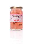 Jar of cherry blossom jam, Takano flower jam isolated on white background.