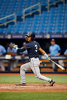 Michael Berglund (3) hits a foul ball during the Tampa Bay Rays Instructional League Intrasquad World Series game on October 3, 2018 at the Tropicana Field in St. Petersburg, Florida.  (Mike Janes/Four Seam Images)