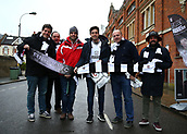 17th March 2018, Craven Cottage, London, England; EFL Championship football, Fulham versus Queens Park Rangers; Group of Fulham fans from Madrid braving the cold conditions outside Craven Cottage before kick off