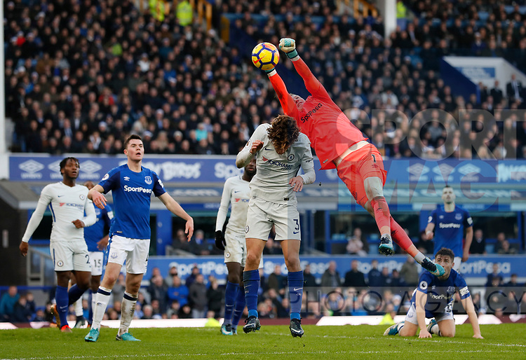 Everton's Jordan Pickford saves from Chelsea's Marcos Alonso during the premier league match at Goodison Park Stadium, Liverpool. Picture date 23nd December 2017. Picture credit should read: David Klein/Sportimage