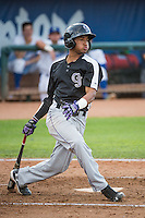 Anthony Brito (5) of the Grand Junction Rockies at bat against the Ogden Raptors in Pioneer League action at Lindquist Field on July 6, 2015 in Ogden, Utah. Ogden defeated Grand Junction 8-7. (Stephen Smith/Four Seam Images)