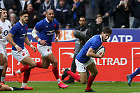 2nd February 2020, Stade de France, Paris; France, 6-Nations International rugby union, France versus England;  Try is scored by Vincent Rattez (France) supported by Romain Ntamack (France) and Gael Fickou (France)