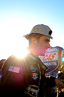 Oct. 16, 2011; Chandler, AZ, USA; NHRA pro stock driver Vincent Nobile celebrates after winning the Arizona Nationals at Firebird International Raceway. Mandatory Credit: Mark J. Rebilas-