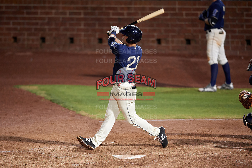 Mobile BayBears first baseman Matt Thaiss (21) hits a home run in the bottom of the seventh inning during a game against the Chattanooga Lookouts on May 5, 2018 at Hank Aaron Stadium in Mobile, Alabama.  Chattanooga defeated Mobile 11-5.  (Mike Janes/Four Seam Images)
