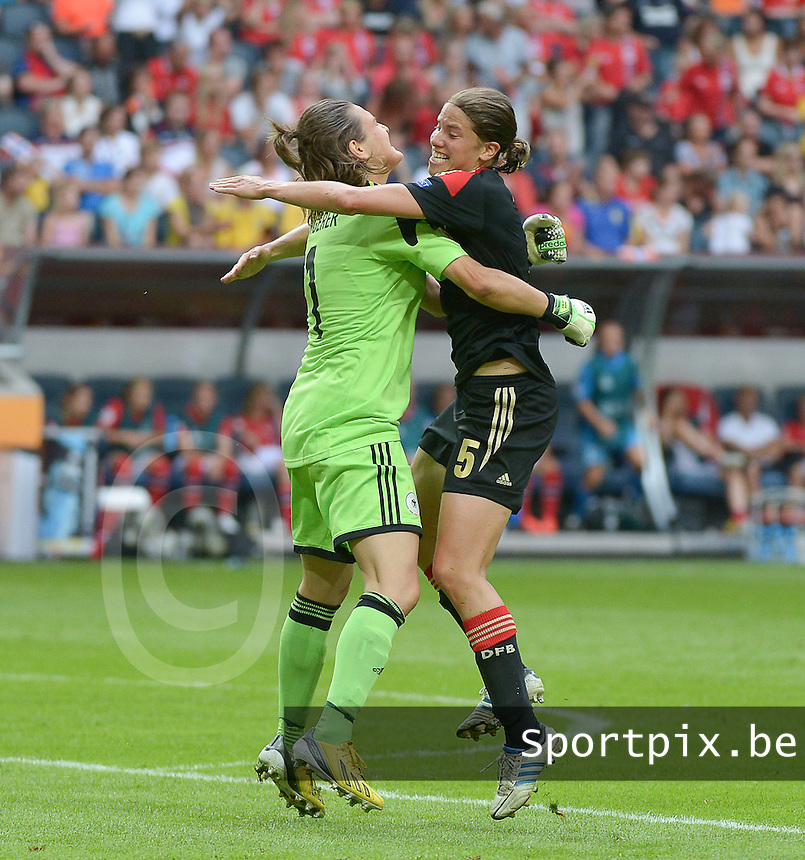 20130728 - Solna , Sweden : German goalkeeper Nadine Angerer pictured celebrating with German Annike Krahn (r) during the female soccer match between Germany and Norway , in the final of the UEFA Women's Euro Championship 2013  at the Friends Arena  , Solna Stockholm . Sunday 28th July 2013. PHOTO DAVID CATRY