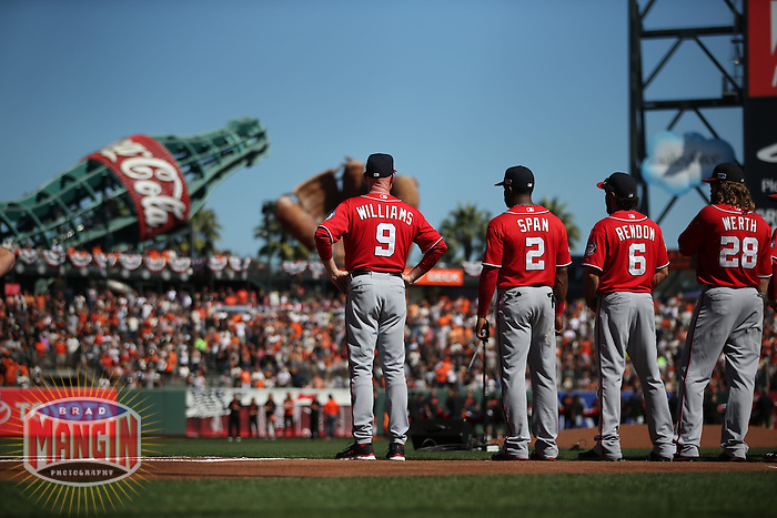 SAN FRANCISCO, CA - OCTOBER 6:  Manager Matt Williams of the Washington Nationals participates in pre-game ceremonies before Game 3 of the National League Division Series against the San Francisco Giants at AT&T Park on Monday, October 6, 2014 in San Francisco, California. Photo by Brad Mangin