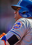5 April 2018: New York Mets outfielder Yoenis Cespedes shown his team patch while on deck during a game against the Washington Nationals during the Nationals' Home Opener at Nationals Park in Washington, DC. The Mets defeated the Nationals 8-2 in the first game of their 3-game series. Mandatory Credit: Ed Wolfstein Photo *** RAW (NEF) Image File Available ***