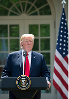 President Donald J Trump and Japanese Prime Minister Abe hold a joint press conference in the White House Rose garden.  They discussed the upcoming summit between Trump and North Korean leader Kim.  <br /> CAP/MPI/RS<br /> &copy;RS/MPI/Capital Pictures